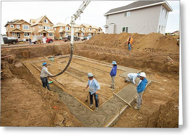 Construction Workers And Rows Of Houses Greeting Card by Ashley Cooper