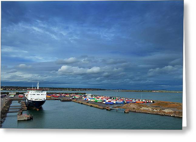 Container Docks At The Mouth Greeting Card by Panoramic Images