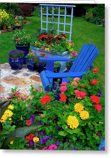 Container Garden Design With Blue Chair Greeting Card by Darrell Gulin