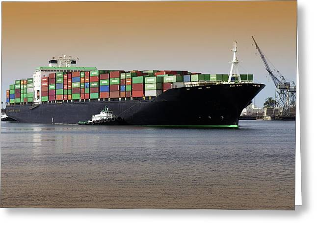 Container Ship And Tug Boat Greeting Card