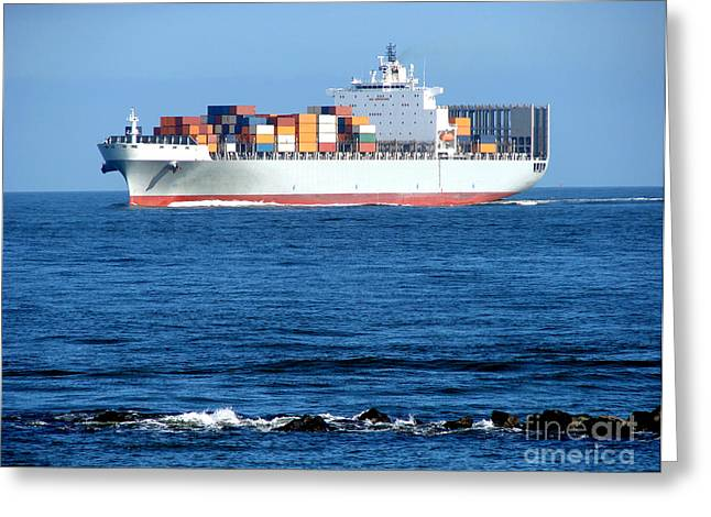 Container Ship Greeting Card by Olivier Le Queinec