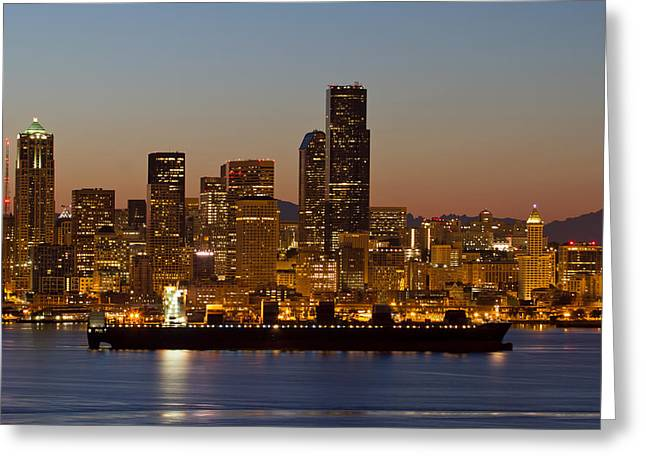 Container Ship On Puget Sound Along Seattle Skyline Greeting Card
