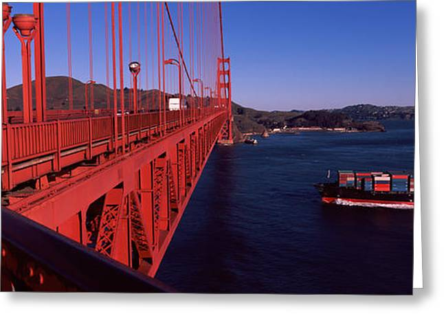 Container Ship Passing Greeting Card by Panoramic Images