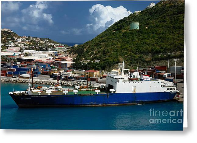 Container Ship St Maarten Greeting Card by Amy Cicconi