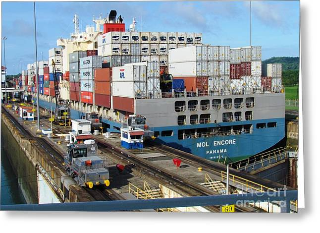 Container Ship Greeting Card by Ted Pollard
