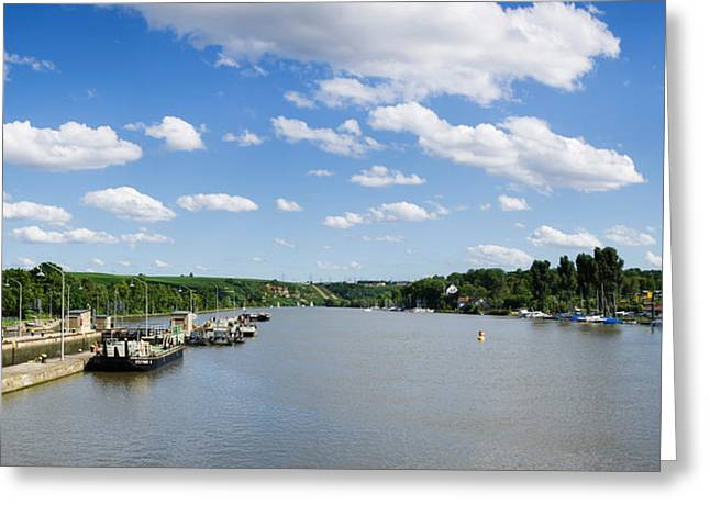 Container Ships At A Canal Lock, Neckar Greeting Card by Panoramic Images