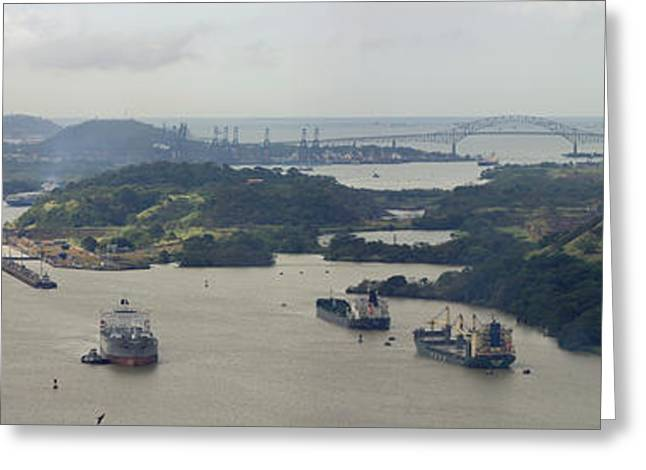 Container Ships In A Canal, Miraflores Greeting Card by Panoramic Images