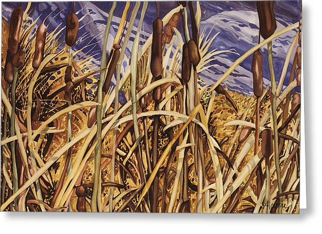 Contemplating Cattails Greeting Card