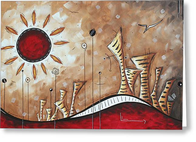 Contemporary Abstract Art Cityscape Original City Painting Where Our Paths Lead By Madart Greeting Card