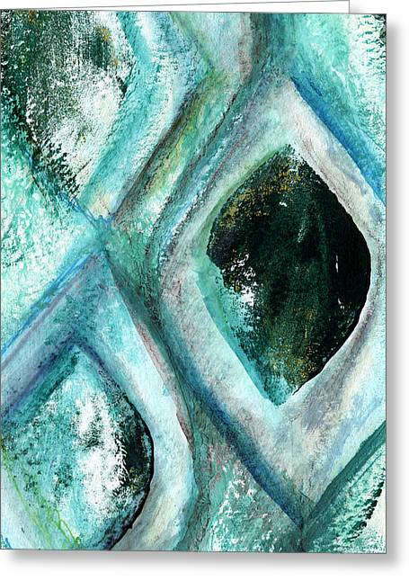 Contemporary Abstract- Teal Drops Greeting Card