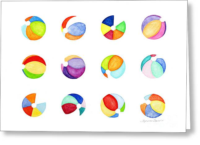 Contemporary Beach Balls Greeting Card