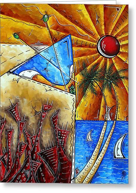 Contemporary Coastal Nautical Tropical Martin Art Original Sailboat Painting Ocean View By Madart Greeting Card by Megan Duncanson