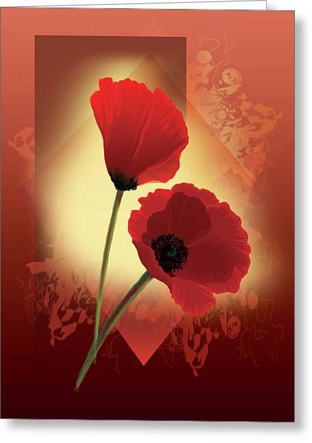 Contemporary Wild Poppies Greeting Card by Regina Femrite