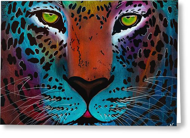 Content Leopard Greeting Card