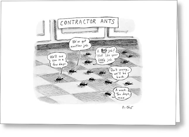 Contractor Ants Are Leaving A House. Ants' Speech Greeting Card