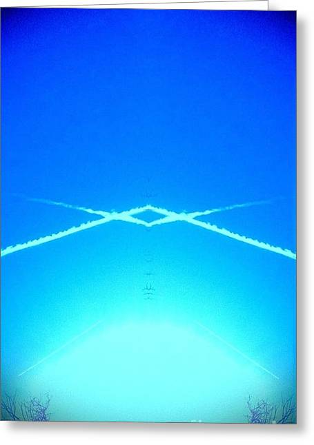 Greeting Card featuring the photograph Contrail Pyramid  by Karen Newell