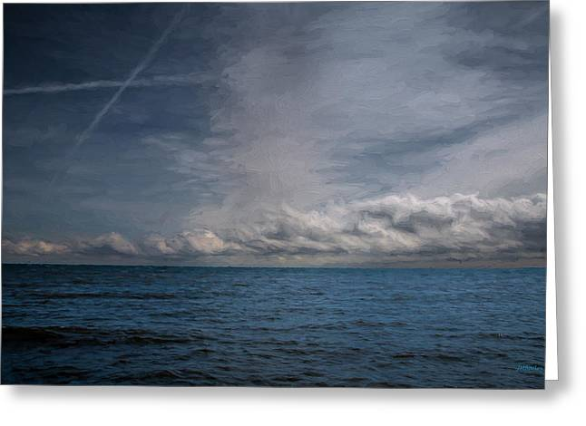 Greeting Card featuring the photograph Contrails And Rainclouds Over Lake Michigan by John M Bailey