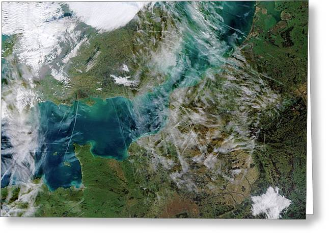 Contrails Over The English Channel Greeting Card