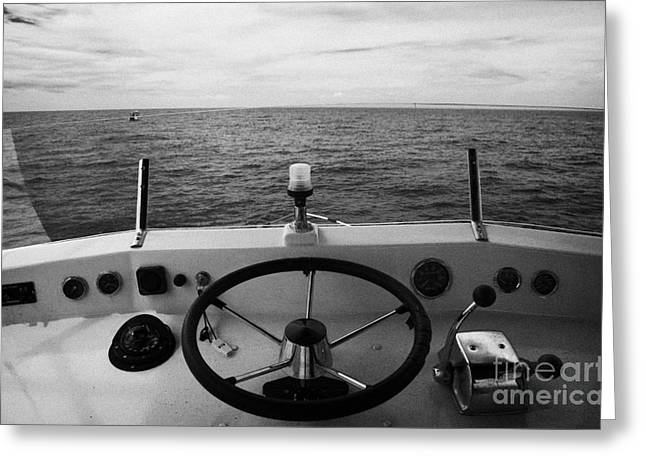 Controls On The Flybridge Deck Of A Charter Fishing Boat In The Gulf Of Mexico Out Greeting Card by Joe Fox