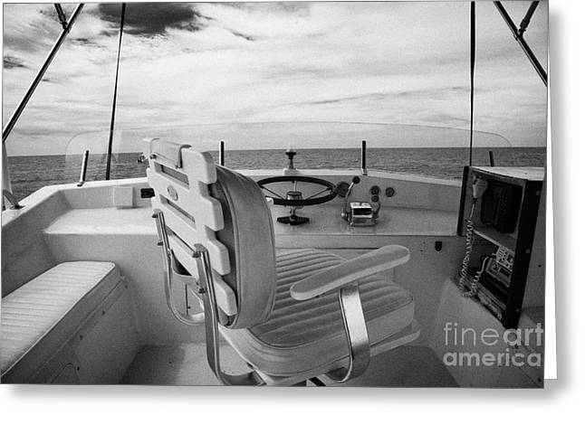 Controls On The Flybridge Deck Of A Charter Fishing Boat In The Gulf Of Mexico Out Of Key West Greeting Card by Joe Fox