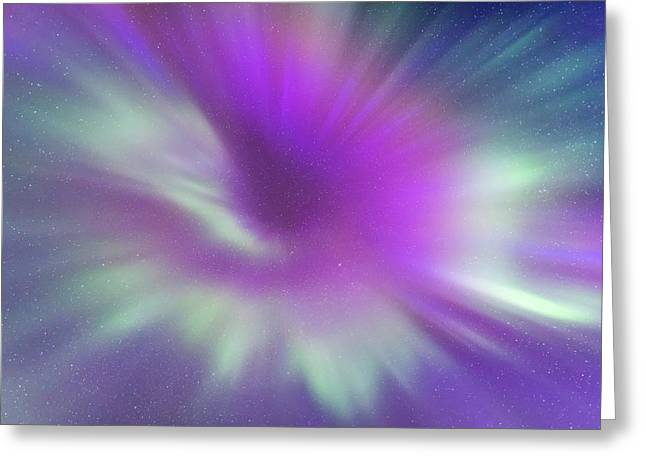 Converging Colourful Curtains Of Aurora Greeting Card by Alan Dyer