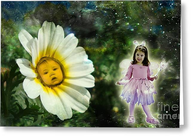 Conversation Between Fairy And Flower Baby Greeting Card by Artist Nandika  Dutt