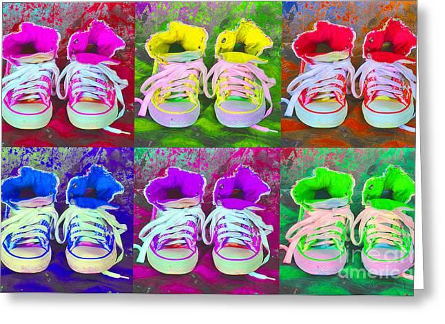 Converse Collage Greeting Card by Randi Grace Nilsberg