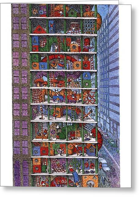 Converted Parking Garage Greeting Card by John O'Brie