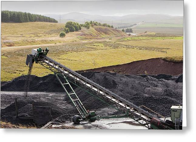 Conveyor With Coal From Opencast Mine Greeting Card by Ashley Cooper