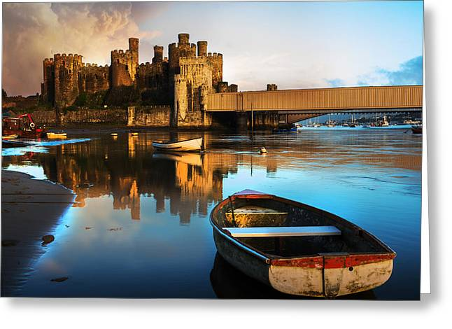 Conwy Castle Reflection Greeting Card by Mal Bray