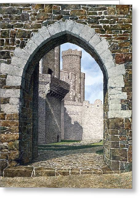 Greeting Card featuring the painting Conwy Gate by Tom Wooldridge