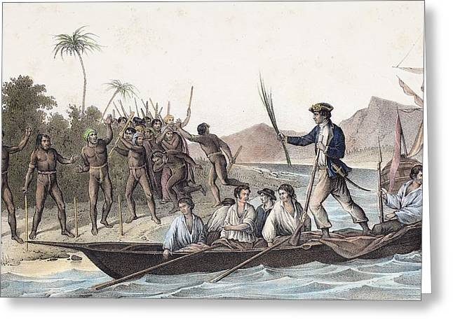 Cook Landing In The New Hebrides Greeting Card