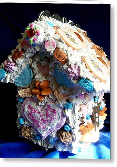 Cookie Birdhouse Sculpture Greeting Card by Kathleen Luther