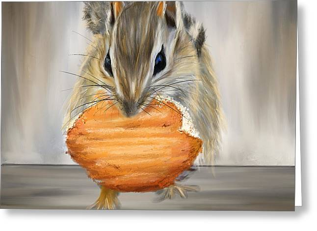 Cookie Time- Squirrel Eating A Cookie Greeting Card by Lourry Legarde