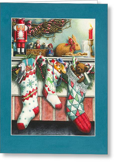 Cookies For Santa Greeting Card by Lynn Bywaters