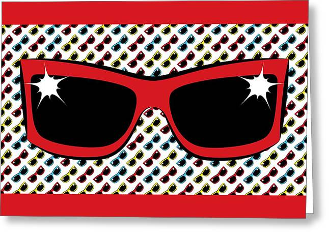 Cool 90's Sunglasses Red Greeting Card
