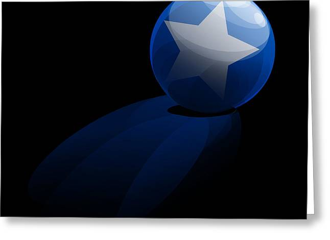 Greeting Card featuring the digital art Blue Ball Decorated With Star Grass Black Background by R Muirhead Art