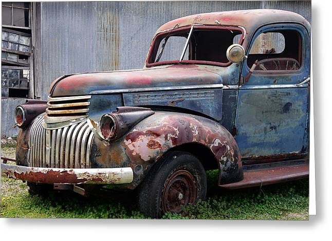 Greeting Card featuring the photograph Cool Blue Chevy by Steven Bateson