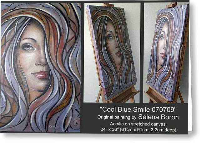 Greeting Card featuring the painting Cool Blue Smile 070709 Comp by Selena Boron