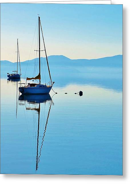 Cool Blue Tahoe Sail Greeting Card