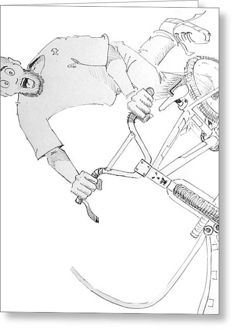 Cool Bmx Drawing Greeting Card by Mike Jory