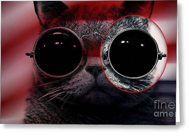 Cool Cat Painting Greeting Card