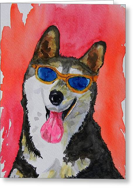 Cool Husky 3 Greeting Card by Warren Thompson