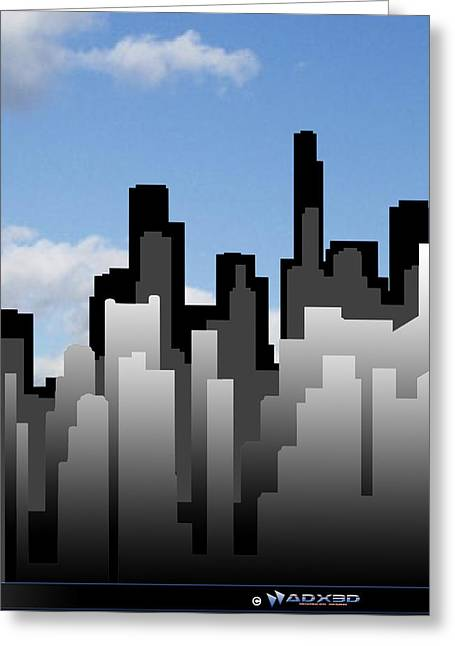 Cool Jazz City  Greeting Card by A Dx