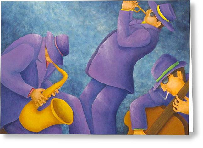 Cool Jazz Trio Greeting Card by Pamela Allegretto