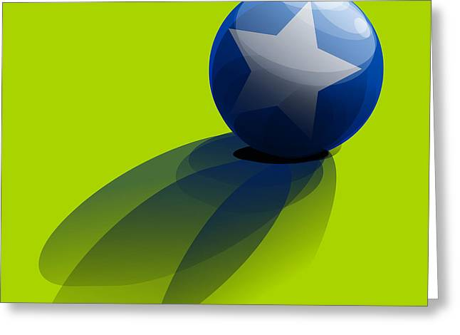 Greeting Card featuring the digital art Blue Ball Decorated With Star Green Background by R Muirhead Art