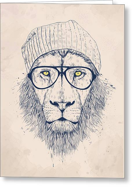 Cool Lion Greeting Card by Balazs Solti