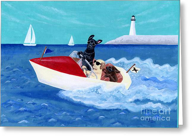 Cool Motorboat Labradors Greeting Card by Naomi Ochiai