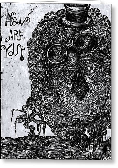 Cool Owl Greeting Card by Akiko Okabe