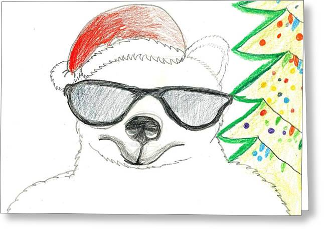 Greeting Card featuring the drawing Cool Christmas Polar Bear  by Ethan Chaupiz